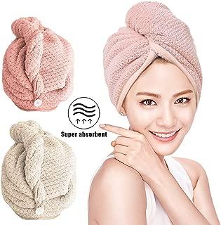 pack de 2 MASBRILL Serviettes /à cheveux 100/% serviette en fibres composites superfines Turban Prot/éger les cheveux contre les dommages