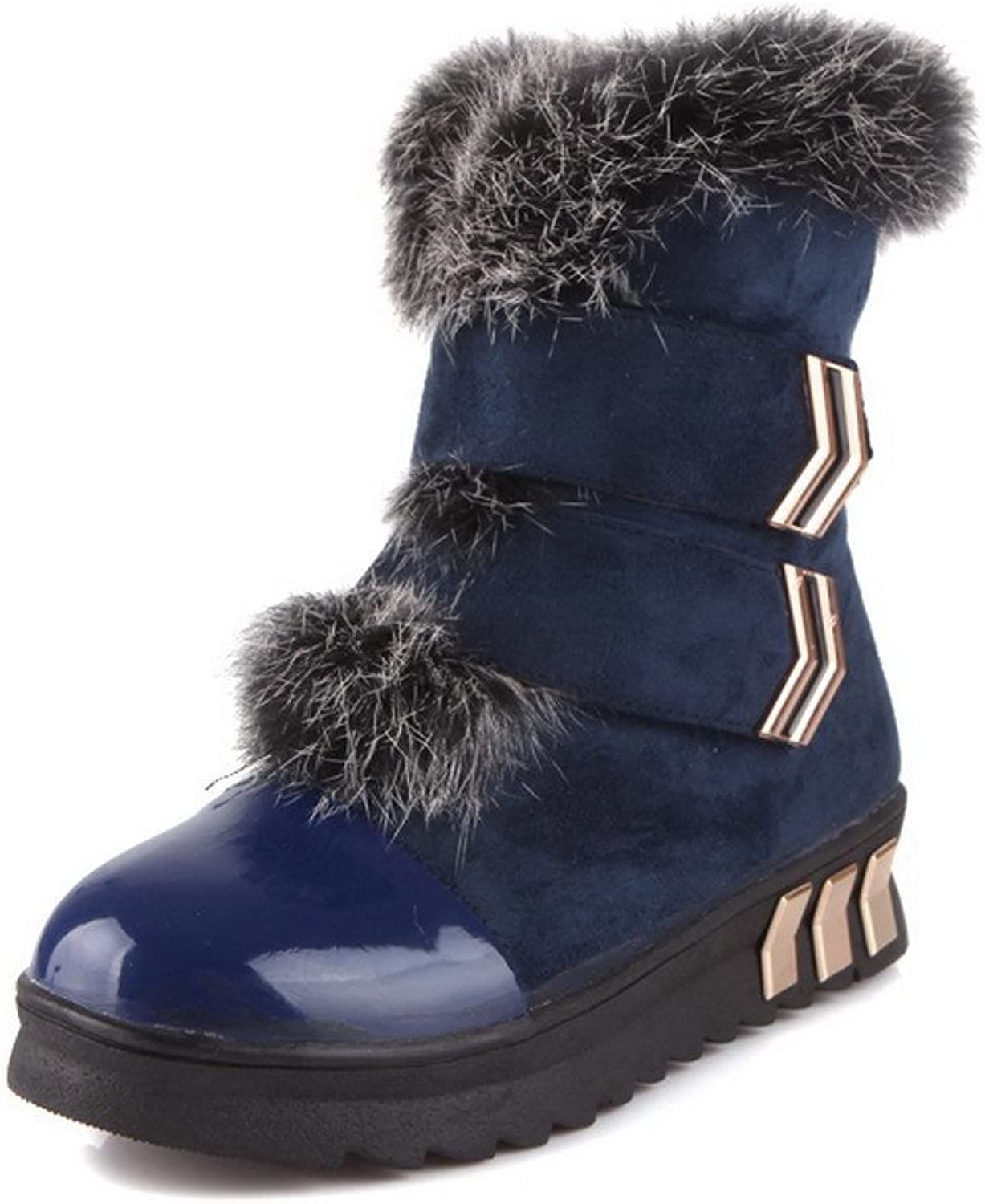 QueenFashion Women's Sweet colorful Ankle Snow Boots with Metalornament and Velcro