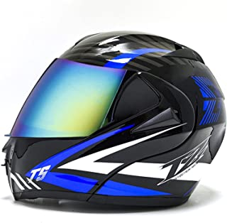 YALIXING Casco Integral de Motocicleta de Anti Niebla Doble Visera Modular Flip Up Sun Shield Cascos de Moto Cascos Modula...