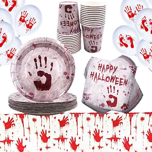 YUESEN Halloween Vajilla Desechable Decoración Fiesta Manchas de Sangre Juego de Vajilla...