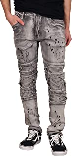 Skinny Fit Rip and Tear Moto Jeans with Splatter Design