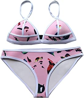 Women's Style in Seaside Swimming Sexy Bikini Set for Women Pink Neoprene Material Backless Triangle Cheeky Swimwear\ Floral Print Swimsuit (Color : Silver, Size : S)