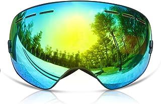 skibrille verspiegelt GANZTON Skibrille Snowboard Brille Doppel-Objektiv UV-Schutz Anti-Fog Skibrille Für Damen und Herren Jungen und Mädchen
