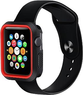 シリコーン スポーツ バンパーフレーム 保護ケースカバー Apple Watch Series 4 iWatch 40mm iWatch ソフトプロテクター用 (ブラックレッド)