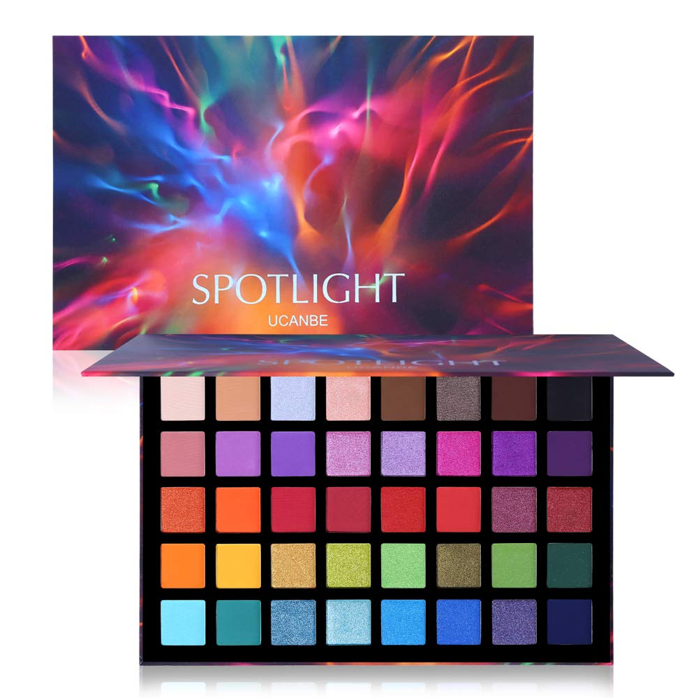 UCANBE Spotlight Eyeshadow Palette Professional 40 Color Eye Shadow Matte Shimmer Makeup Pallet Highly Pigmented Colorful Powder Long Lasting Waterproof Eye Shadow : Beauty & Personal Care