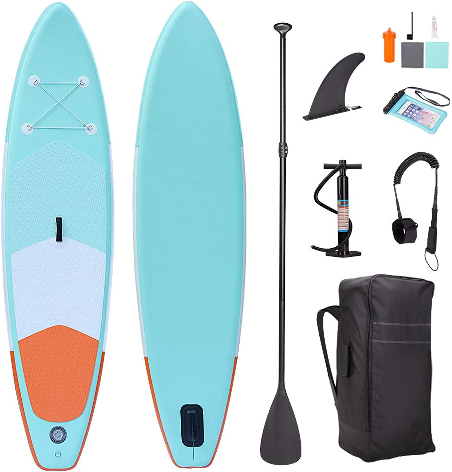 SUP Stand Up Paddle Board 120x30x6inch for All Round Touring with Storage Bag, Paddles, Fin, Leg Leash, Air Pump,Phone Pouch