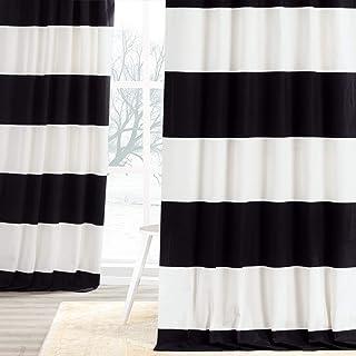 HPD Half Price Drapes PRCT-HS06-120 Horizontal Stripe Curtain (1 Panel), 50 X 120, Onyx Black & OffWhite