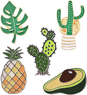 5-24PCS Cute Pins for Backpack-Cartoon Cactus Pineapple Enamel Cool Brooch Pin Badges Set for Backpack Clothes Bags Novelty Pins Enamel Pin Set Aesthetic Pins