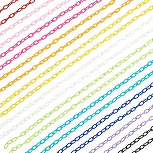 PH PandaHall 22本 プラスチックチェーン ラスチックカーブチェーン 41cm 43cm 11色 メガネ用 ケーブルチェーン リンク ストラップチェーン ジュエリー作り