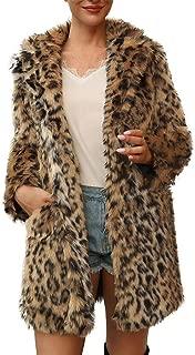 Winter Faux Fur Coat for Women, Warm Leopard Sexy Turn Down Collar Outerwear E-Scenery