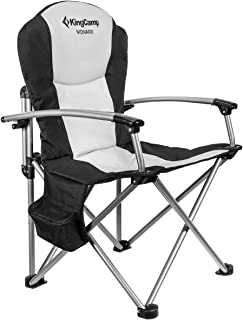 KingCamp Camping Chair Heavy Duty Folding Oversize Padded Director's Chair with Carry Bag and Cooler Bag, Supports 353 lbs