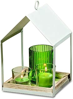 Whole House Worlds Naturally Modern Architectural Candle Holder, Set of 4, White Metal Lantern with 1 Green and 2 Clear Cups, Inset Wood Tray, 9 1/2 Inches Tall, Table Top Centerpiece