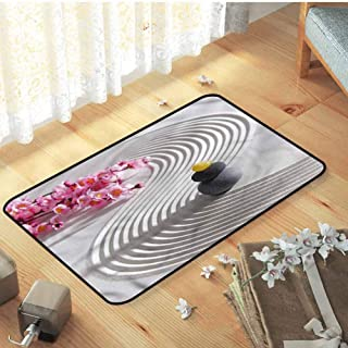 FANOEWI Gray Door Mat Spa Meditation Theme Stones Flower Doormat 23.6