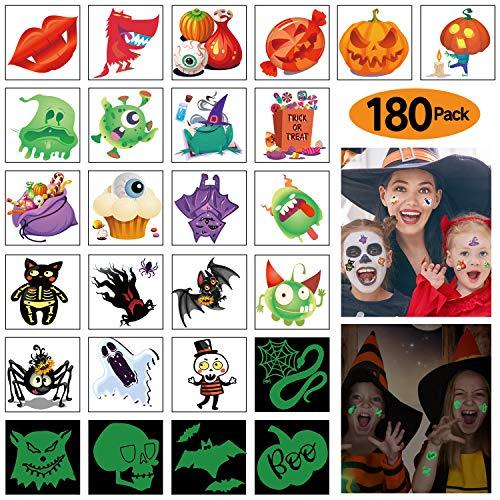 180 Stück sortierte Halloween Tattoos, 30 Designs, darunter 36 Glow in The Dark Kinder Tattoos Halloween Trick or Treat Geist Monster Kürbis Tattoos