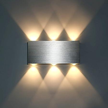 Lightess Applique Murale LED 6W Intérieur Lampe Murale Moderne Carré Up Down en Aluminium Eclairage Décoration Lumière pour Chambre a Coucher Bureau Lit Couloir Salon Hôtel Pathway Bar Blanc Chaud
