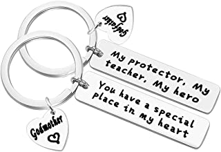 2Pcs Godparent Keychain Set You Have A Special Place In My Heart Keychain Godfather and Godmother Gifts from Godchild First Communion Gift Godmother Jewelry Godfather Keychain