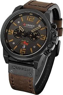 Military Watches for Men Men's Leather Strap Analog Quartz Wristwatch Fashion Sport Watch for Men Chronograph Date CAOWTAN