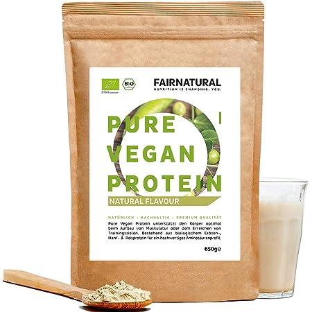 Proteina Vegana en Polvo ORGANICA Neutra/Natural sin soja - 650g de proteína sin edulcorante para la dieta y la construcción de músculo - proteína ...