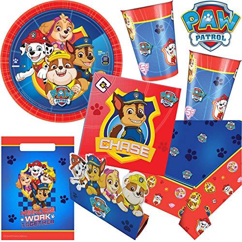 101-tlg. * PAW PATROL * PARTY SET für einen Kindergeburtstag mit 8 Kindern: Teller, Becher, Servietten, Einladungen, Partytüten, Tischdecke, Luftschlangen, Luftballons, u.v.m.
