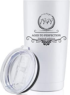 1949 70th Birthday Gifts for Women and Men Tumbler, Party 70th birthday decorations, Best Anniversary Presents Ideas Him Her Husband Wife Mom Dad, 20oz Stainless Steel Tumbler (White, 1949)