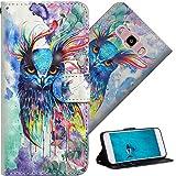 COTDINFOR Samsung Galaxy J5 2016 FundaProtectoraEfecto3DPintadadePielPremiumPUFlipShellconMagnéticoCierreTitulardelaTarjetaalospara J510 Watercolor Owl YX.