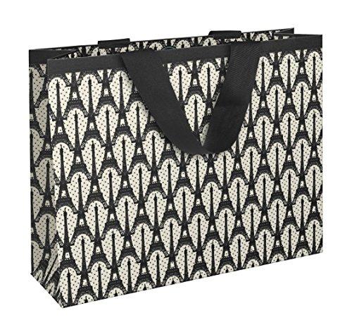 Clairefontaine Cakes de Bertrand 83195C Papier Einkaufstasche 35x 10x 27,5cm matt Laminiertes mit Motiv Paris Boden Weiß/Eiffelturm schwarz