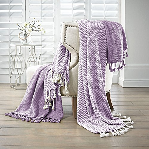 Amrapur Overseas | Monaco 100% Cotton Throw Blanket (Lavender Ash) 2 Pack