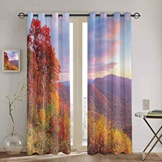 Homrkey Apartment Decor Collection Patio Door Curtains for Bedroom Sunrise with Stunning Sky Colors in Autumn Falls at South Western Village Scenery Door Curtain W42 x L63 Inch Red Yellow Blue