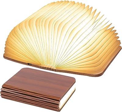 Lampe Livre LED pliable en bois, Lampe Livre USB Rechargeable pour articles pour la maison, décorations pour chambres et bureaux   Décoratif lampe de table pour cadeaux d'anniversaire et de Noël