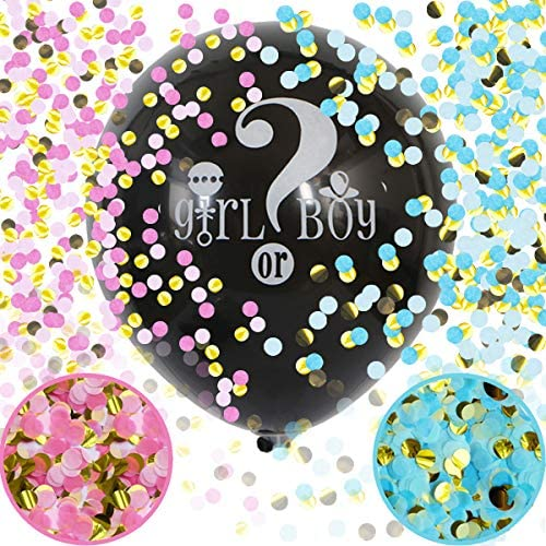 Baby Gender Reveal Confetti Balloon 36 Inch Big Black Balloons x2 with Pink and Blue Heart Shape product image