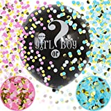 FUKUGAWA Baby Gender Reveal Confetti Balloon - 36 Inch Big Black Balloons x2 with Pink and Blue Heart Shape Confetti Packs for Boy or Girl - Baby Shower Gender Reveal Party Supplies Decoration Kit