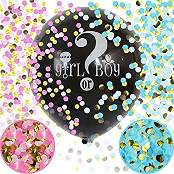 Baby Gender Reveal Confetti Balloon - 36 Inch Big Black Balloons x2 with Pink and Blue Heart Shape Confetti Packs for Boy or Girl - Baby Shower Gender Reveal Party Supplies Decoration Kit