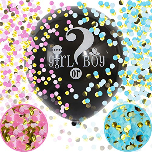 Baby Gender Reveal Confetti Balloon  36 Inch Big Black Balloons x2 with Pink and Blue Heart Shape Confetti Packs for Boy or Girl  Baby Shower Gender Reveal Party Supplies Decoration Kit