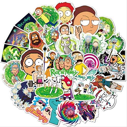 50 pegatinas de Anime Drama Morty Rick para portátil, snowboard, equipaje, coche, frigorífico, vinilo, decoración del hogar, juguete, 30 unidades, sin repetición