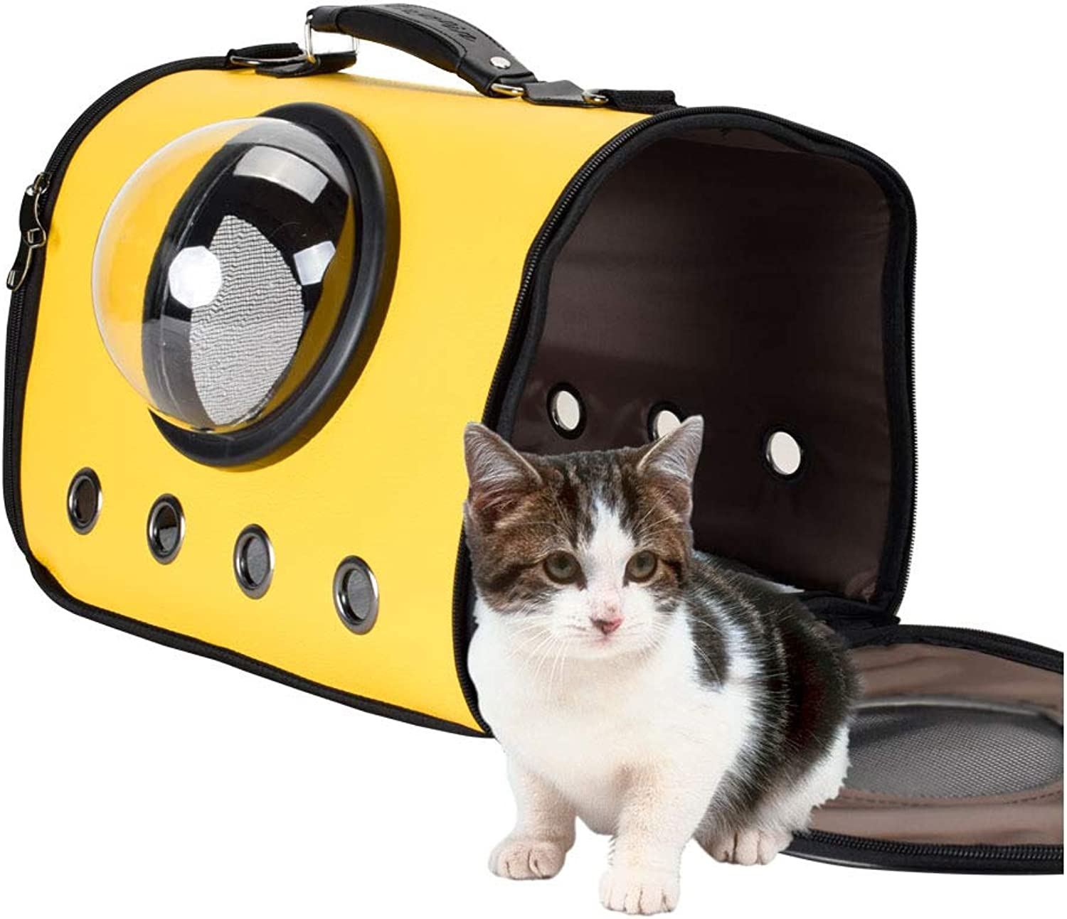 Luxury Cat Travel Carrying Handbag Outdoor Travel Walking PuppyAirline Approved Portable Pet Travel Bags,Yellow