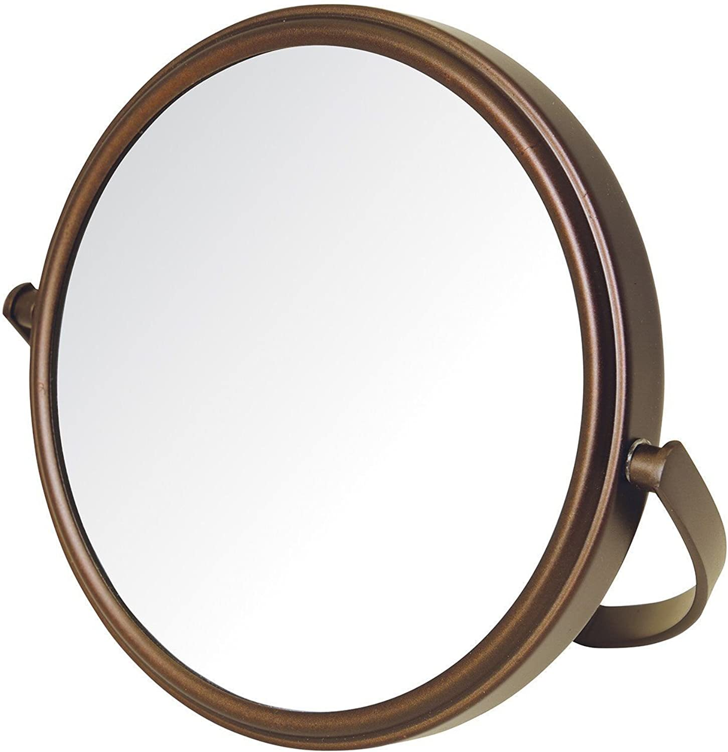 Makeup Mirror, Dual-Sided 5X 1X Magnification Table Top, Bronze L 6.7 x W 6.6 x H 1.1 inches