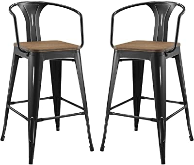 Modway Promenade Bar Stool Set of 2, Black
