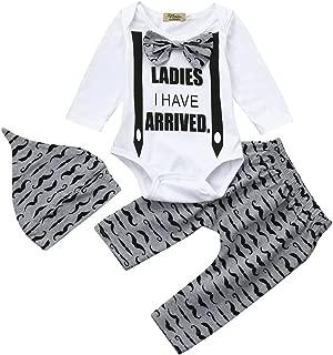❤️ Mealeaf ❤️ Toddler Outfits Infant Baby Boys Letter Print Romper + Pants + Hat Clothes Set 0-3t