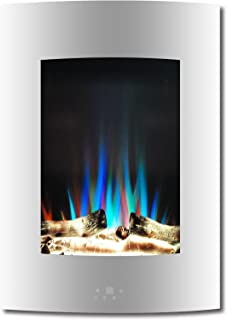 Cambridge CAM19VWMEF-2WHT 19.5 In. Vertical Electric Fireplace in White with Multi-Color Flame and Driftwood Log Display