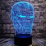 Iron Man Mask Head Cartoon Table Lamp for Boy Bedroom Marvel Avengers Figure Comic Shade Switch 3D Visual LED Bulb Home Night Light Party Illusion Mood Lava Kids Holiday Toy Boy Gift(Iron Man Head)