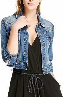 Women Casual Denim Jacket Jeans Tops Half Sleeve Trucker Coat Outerwear Girls Fashion Slim Outercoat Windbreaker