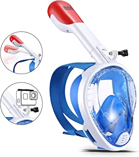 BJX Full Face Snorkel Mask,180� Panoramic View, Free Breathing,Protect Against Dangerous CO2 Build-Up,Dry Top Set Anti-Fog Anti-Leak Universal Size for Adults(Blue)