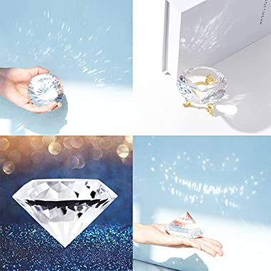 LONGWIN 80mm(3.1 inch) Crystal Diamond Paperweight Jewels Backgrand for Nail Pictures Wedding Decorations Home Decor with Gol