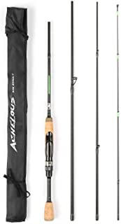 Honorall Portable Travel Spinning Fishing Rod Lightweight Carbon Fiber 4 Pieces Fishing Pole