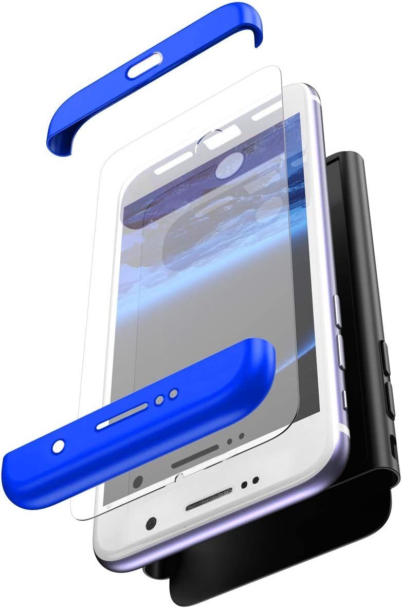 Tempered Glass Screen Protector Ultra Thin Shockproof Front Back Hard Anti-Scratch Case,Silver Black Herbests Compatible with Huawei P20 Lite Case 360 Full Body Coverage Protection Case