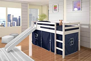 DONCO KIDS Twin Tent Loft Bed with Slide White Finish with Blue Tent
