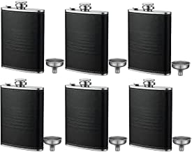 6 Pcs 8-Oz. Black American Flag Flask - Soft Touch Cover and Durable Construction Stainless Steel Leak Proof Classic American Flag Design,Funnel Included