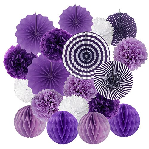 ZERODECO Hanging Paper Fan Set, Tissue Paper Pom Poms Flower Fan and Honeycomb Balls for Birthday Baby Shower Wedding Festival Decorations - Purple