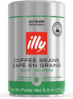 illy Decaffeinated Whole Bean Coffee, Medium Roast, Classic Roast with Notes Of Chocolate & Caramel, 100% Arabica Coffee, No Preservatives, 8.8 Ounce (Pack of 1)