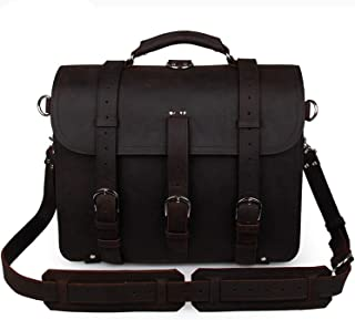 Men's Shoulder Bags Leather Retro Crazy Horse Leather Tote Bag Domineering Bags for Travel (Color : Brown Black)